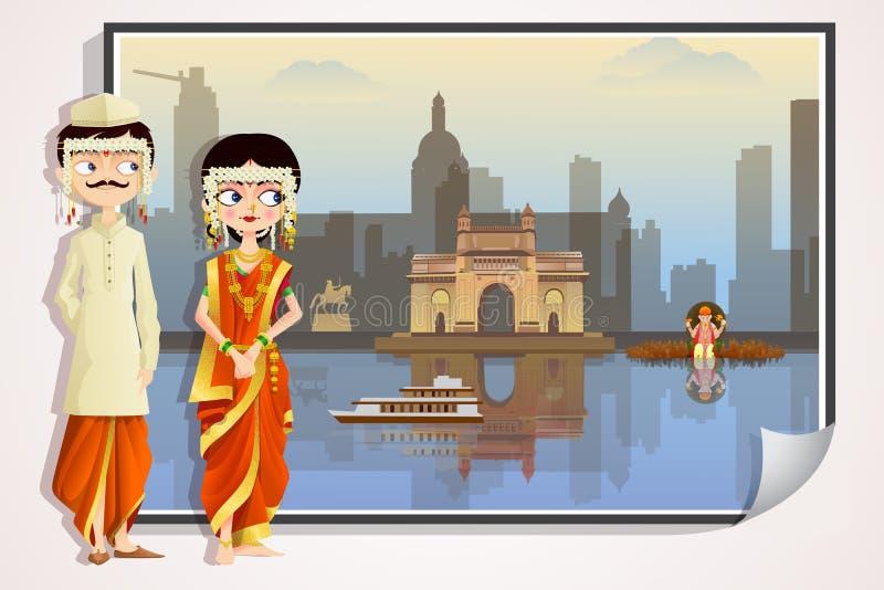 Γαμήλιο ζεύγος Maharashtrian διανυσματική απεικόνιση