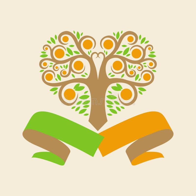 Γαμήλιο λογότυπο με ένα πορτοκαλί δέντρο υπό μορφή του διανυσματική απεικόνιση