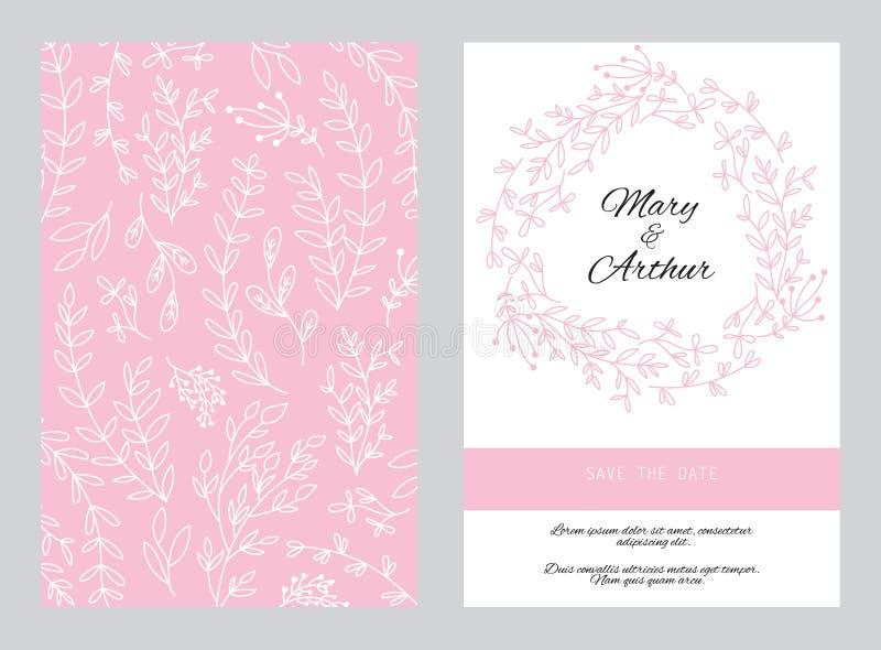 Γαμήλιο υπόβαθρο με τα florar στοιχεία απεικόνιση αποθεμάτων