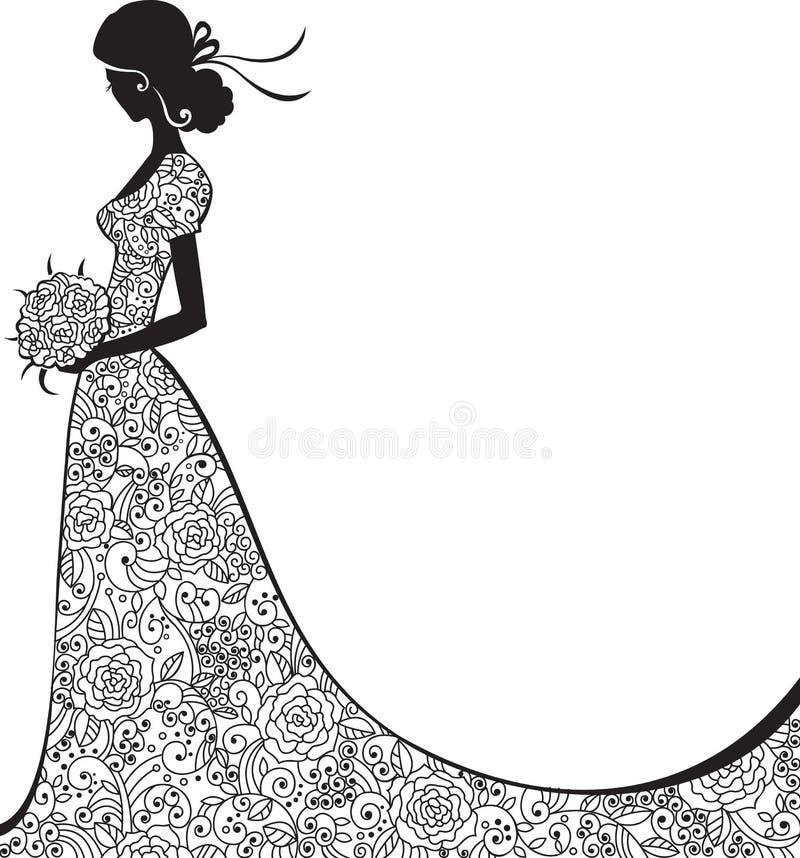 Κομψή σκιαγραφία της νύφης στοκ εικόνα με δικαίωμα ελεύθερης χρήσης