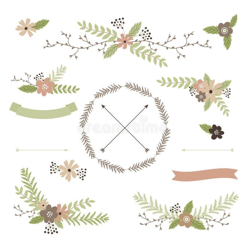 Γαμήλιο floral σύνολο διανυσματική απεικόνιση