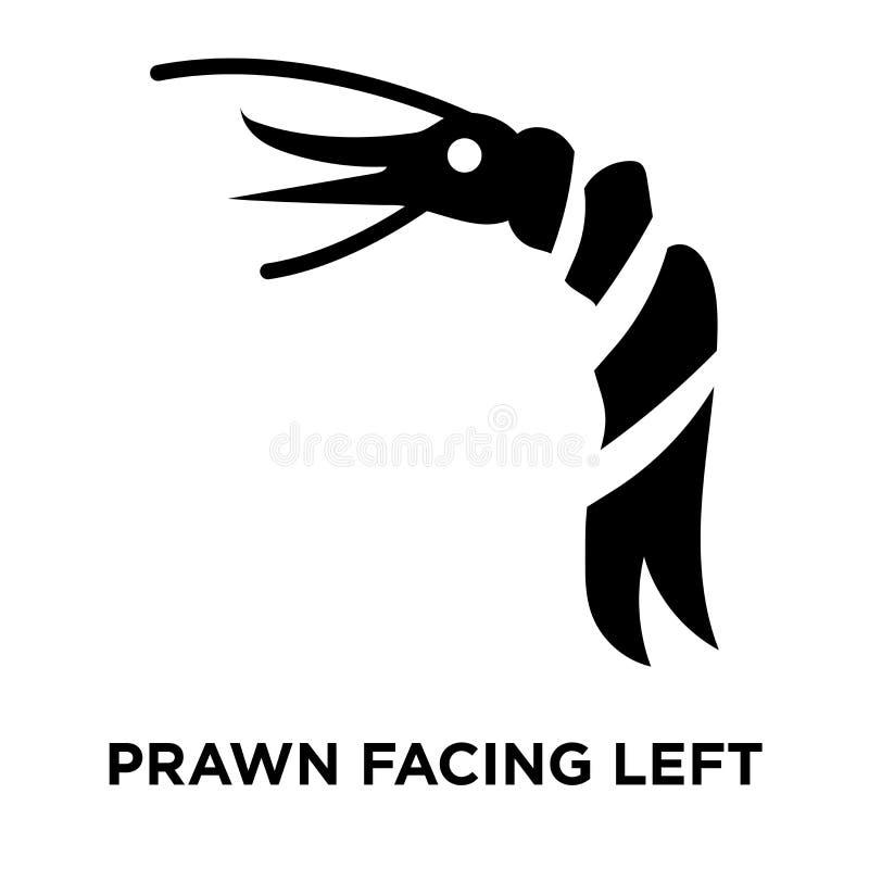 Γαρίδα που αντιμετωπίζει το αριστερό διάνυσμα εικονιδίων που απομονώνεται στο άσπρο υπόβαθρο, λογότυπο διανυσματική απεικόνιση