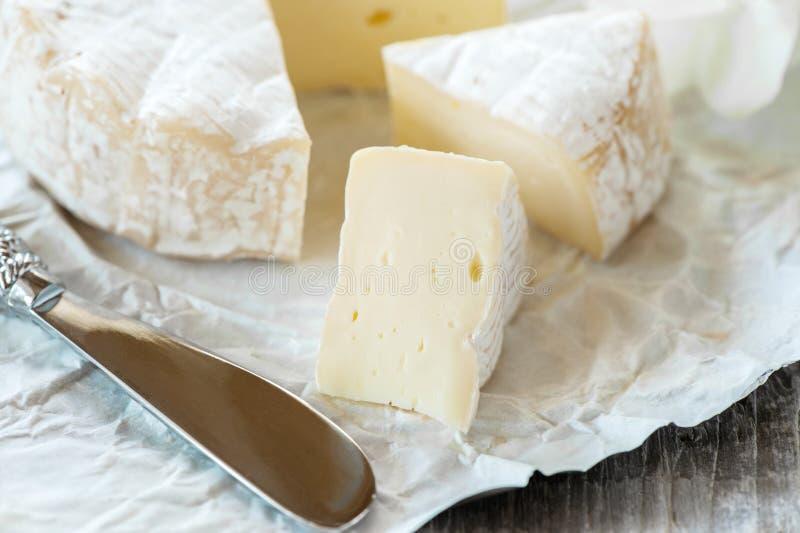 Γαστρονομικό πικάντικο Camembert τυρί, brie στο υπόβαθρο της Λευκής Βίβλου με το μαχαίρι τυριών Πικάντικο ορεκτικό για τα gourmet στοκ φωτογραφίες
