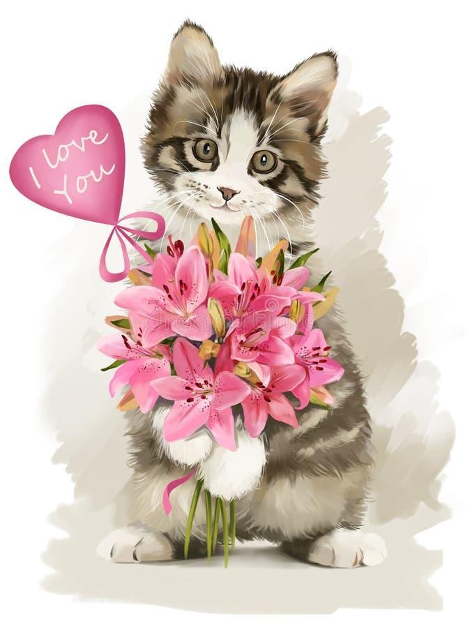 Γατάκι με ένα δώρο ελεύθερη απεικόνιση δικαιώματος