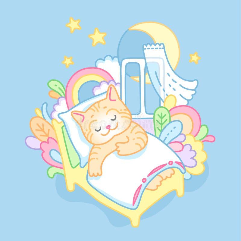 Γατάκι ύπνου ελεύθερη απεικόνιση δικαιώματος