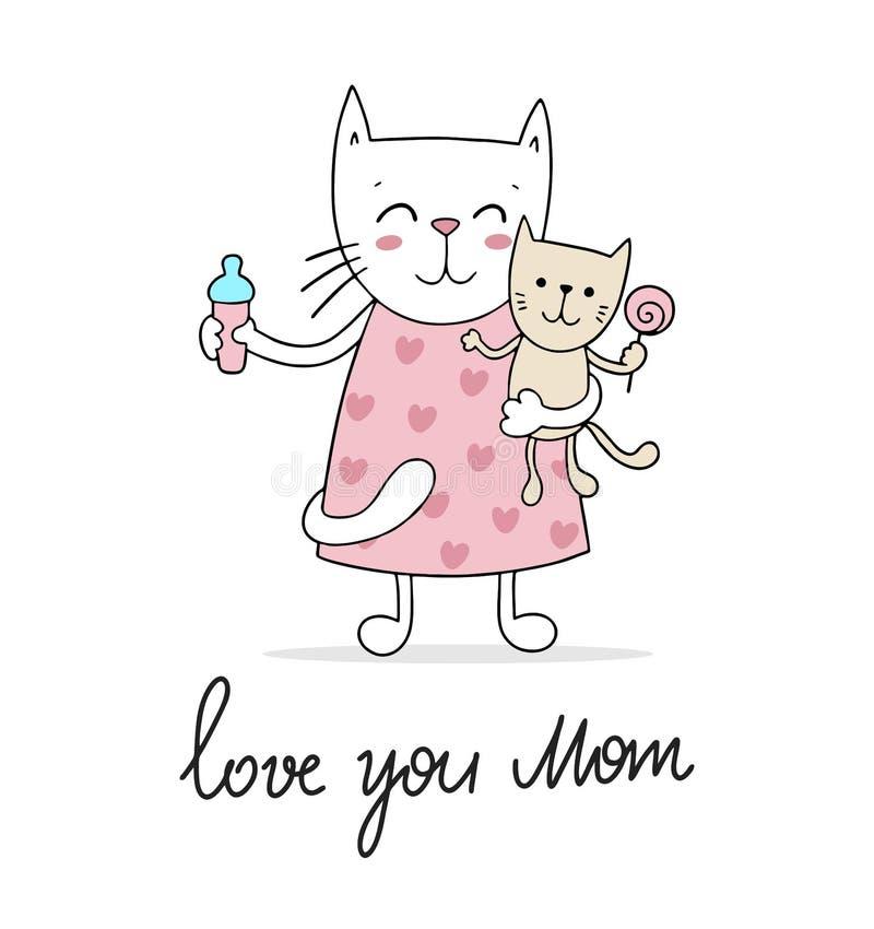 Γατάκι mom με τη μικρή γάτα μωρών της Ζωική ευχετήρια κάρτα απεικόνισης κινούμενων σχεδίων ημέρας της ευτυχούς μητέρας ελεύθερη απεικόνιση δικαιώματος