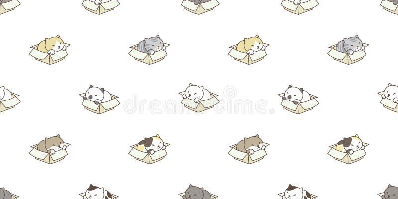 Γατών άνευ ραφής σχεδίων κιβωτίων βαμβακερού υφάσματος σκηνικό υποβάθρου ταπετσαριών γατακιών απομονωμένο φυλή ελεύθερη απεικόνιση δικαιώματος
