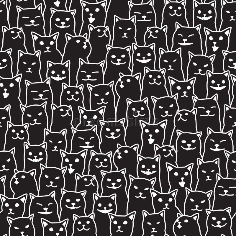 Γατών γατακιών Μαύρος υποβάθρου ταπετσαριών φυλής doodle ο διανυσματικός άνευ ραφής απομονωμένος σχέδιο διανυσματική απεικόνιση