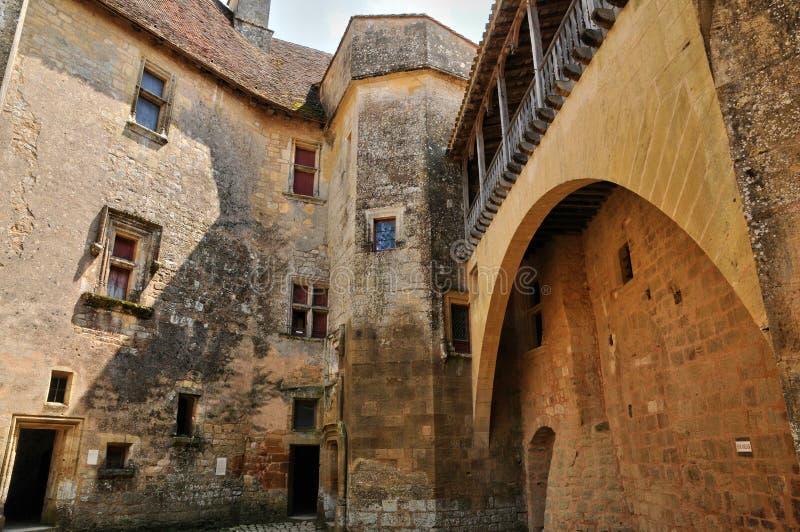 Γαλλία, γραφικό κάστρο Biron σε Dordogne στοκ φωτογραφίες