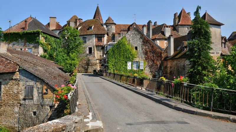 Γαλλία, γραφικό χωριό Carennac στο μέρος στοκ εικόνες