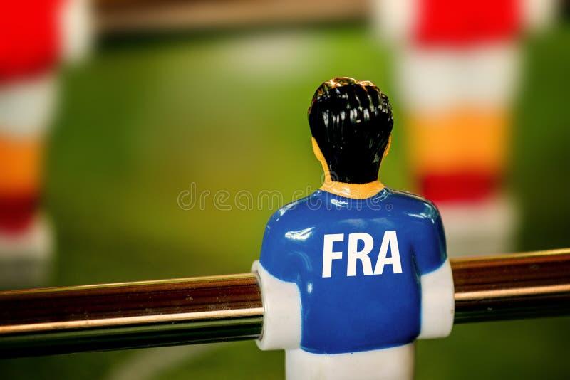 Γαλλία εθνικό Τζέρσεϋ σε εκλεκτής ποιότητας Foosball, παιχνίδι επιτραπέζιου ποδοσφαίρου στοκ εικόνα με δικαίωμα ελεύθερης χρήσης