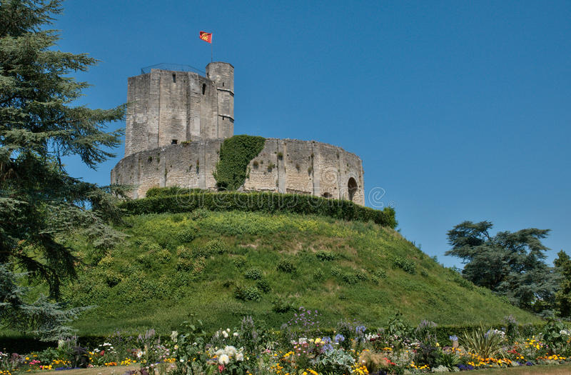 Γαλλία, ιστορικό κάστρο Gisors σε Normandie στοκ εικόνες