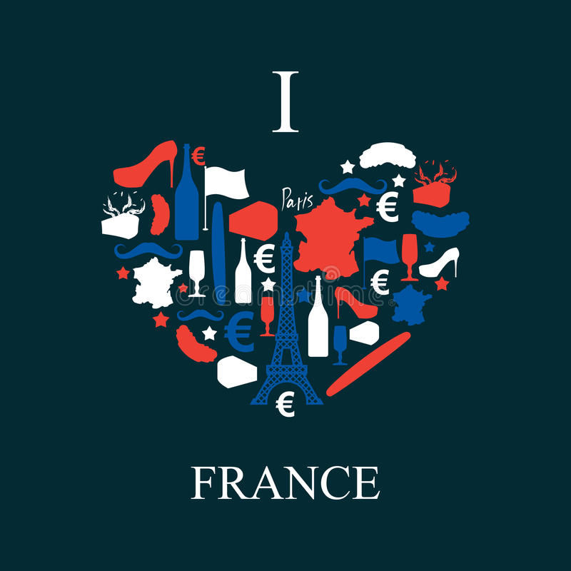 Γαλλία ι αγάπη Παραδοσιακό γαλλικό εθνικό σύνολο εικονιδίων με μορφή απεικόνιση αποθεμάτων
