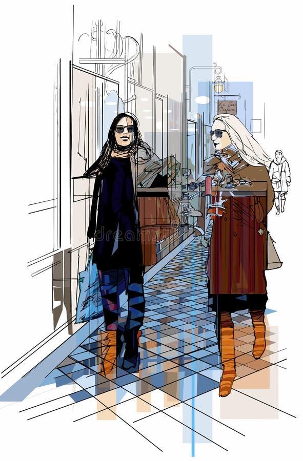 Γαλλία Παρίσι - δύο γυναίκες strolling σε μια μετάβαση ελεύθερη απεικόνιση δικαιώματος