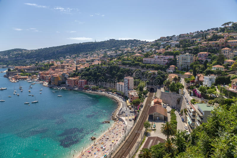 Γαλλία Πόλη του Villefranche-sur-Mer και του κόλπου Villefranche στοκ εικόνες με δικαίωμα ελεύθερης χρήσης