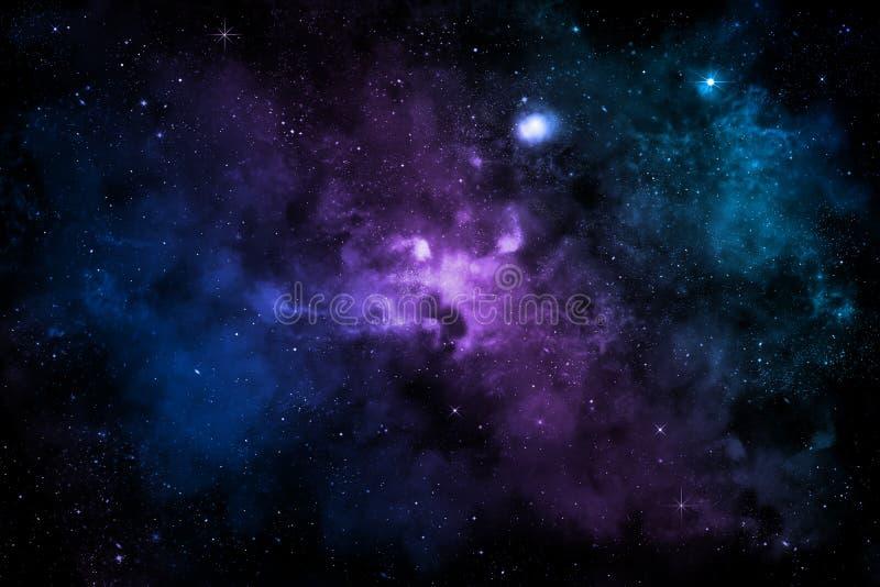 Γαλαξίας με το ζωηρόχρωμο νεφέλωμα, τα λαμπρά αστέρια και τα σύννεφα διανυσματική απεικόνιση