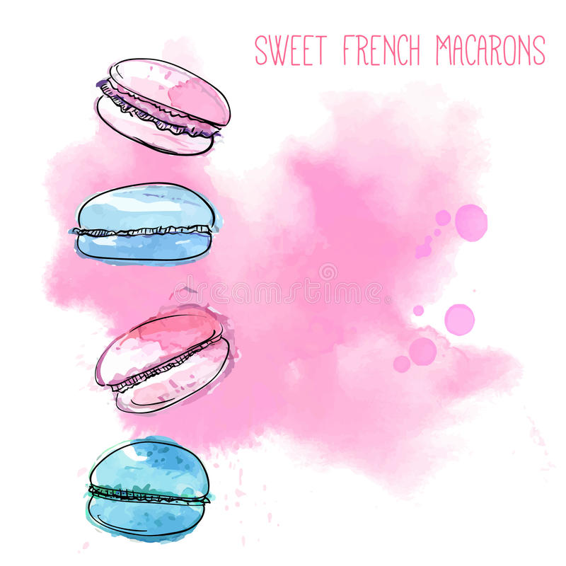 4 γαλλικά macarons στο ρόδινο υπόβαθρο παφλασμών χρωμάτων Διανυσματική απεικόνιση Watercolor των ελαφριών ζυμών ελεύθερη απεικόνιση δικαιώματος