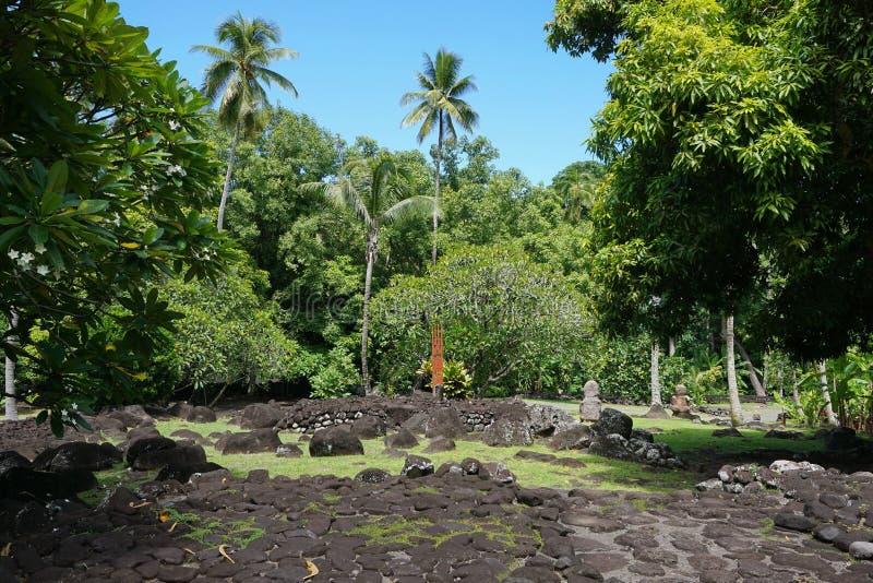 Γαλλικά marae πετρών της Πολυνησίας Ταϊτή παλαιά στοκ φωτογραφίες με δικαίωμα ελεύθερης χρήσης