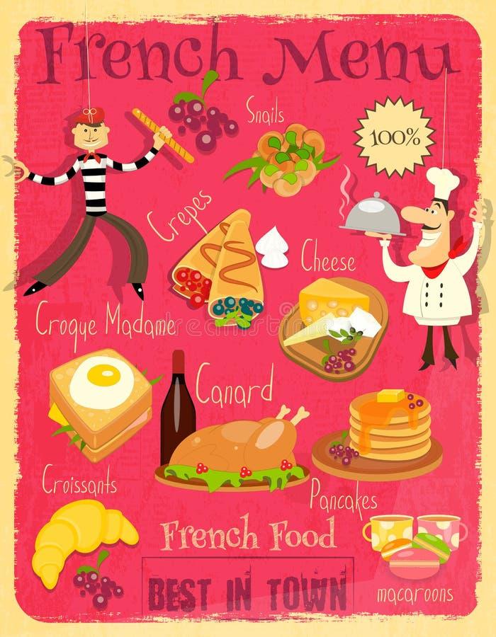 Γαλλικές επιλογές τροφίμων διανυσματική απεικόνιση