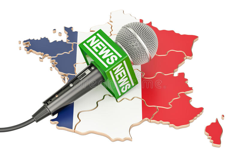 Γαλλική έννοια ειδήσεων, ειδήσεις μικροφώνων στο χάρτη της Γαλλίας τρισδιάστατος σχετικά με διανυσματική απεικόνιση