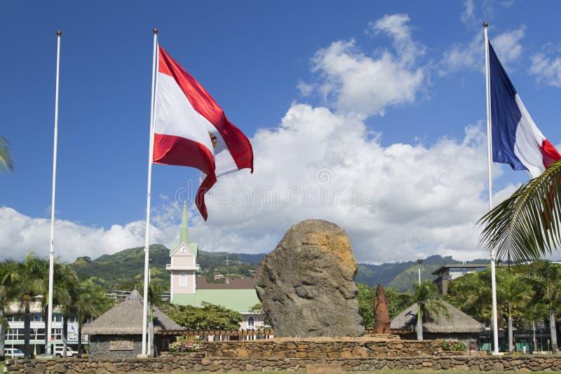 Γαλλική πολυνησιακή σημαία Jardins de Paofai, Pape'ete, Ταϊτή, γαλλική Πολυνησία στοκ εικόνες