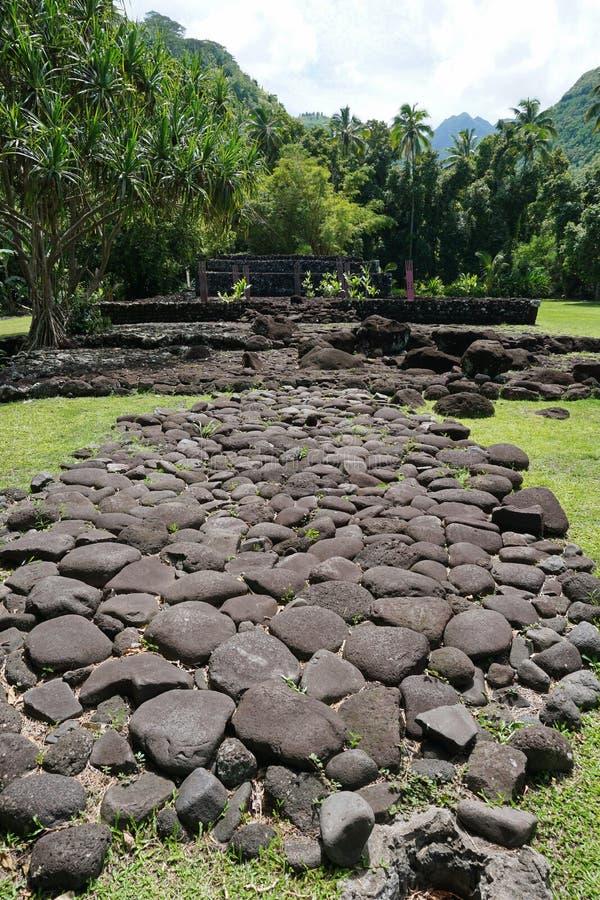 Γαλλική της Πολυνησίας Ταϊτή δομή πετρών marae παλαιά στοκ φωτογραφίες με δικαίωμα ελεύθερης χρήσης