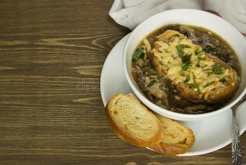γαλλική gratin σούπα κρεμμυδιών στοκ φωτογραφία