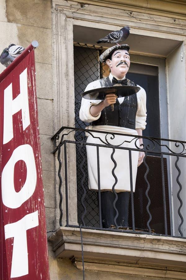 Γαλλικός σερβιτόρος με το περιστέρι στοκ φωτογραφίες με δικαίωμα ελεύθερης χρήσης
