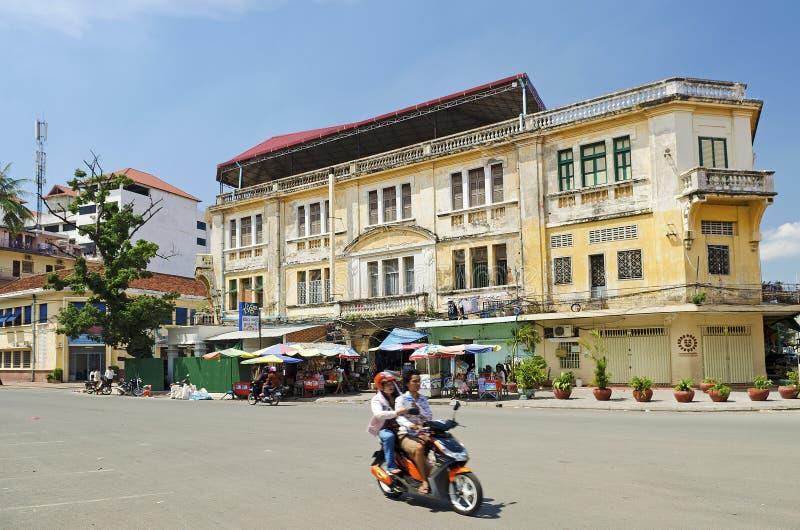 Γαλλικό αποικιακό κτήριο στο phnom penh Καμπότζη στοκ φωτογραφία