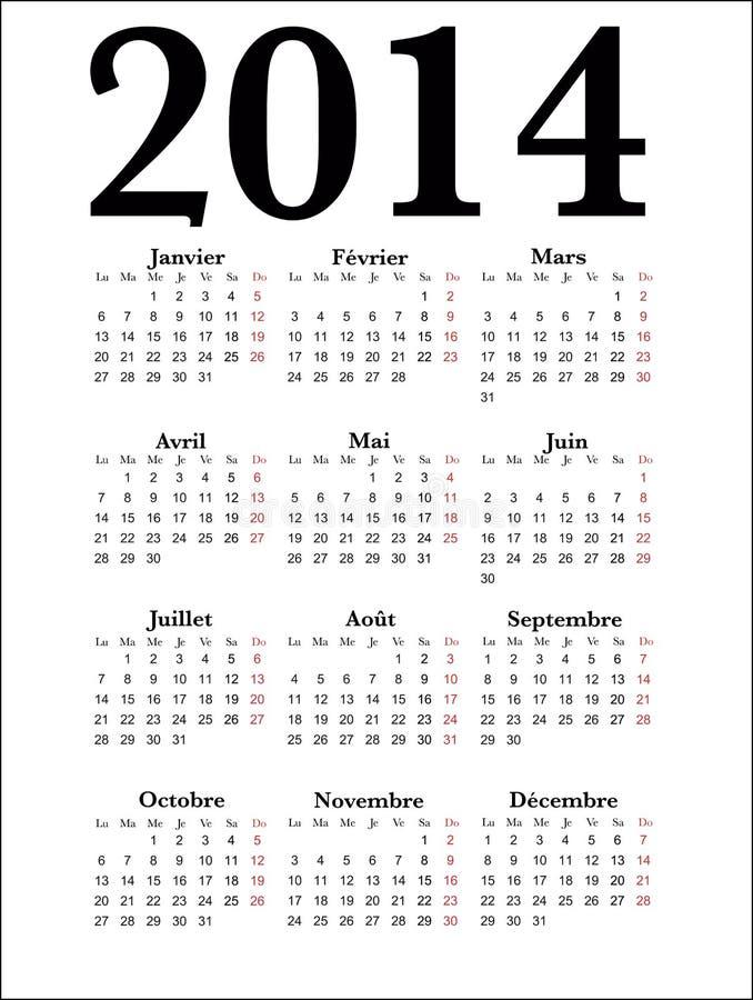 Γαλλικό ημερολόγιο 2014 στοκ φωτογραφία με δικαίωμα ελεύθερης χρήσης