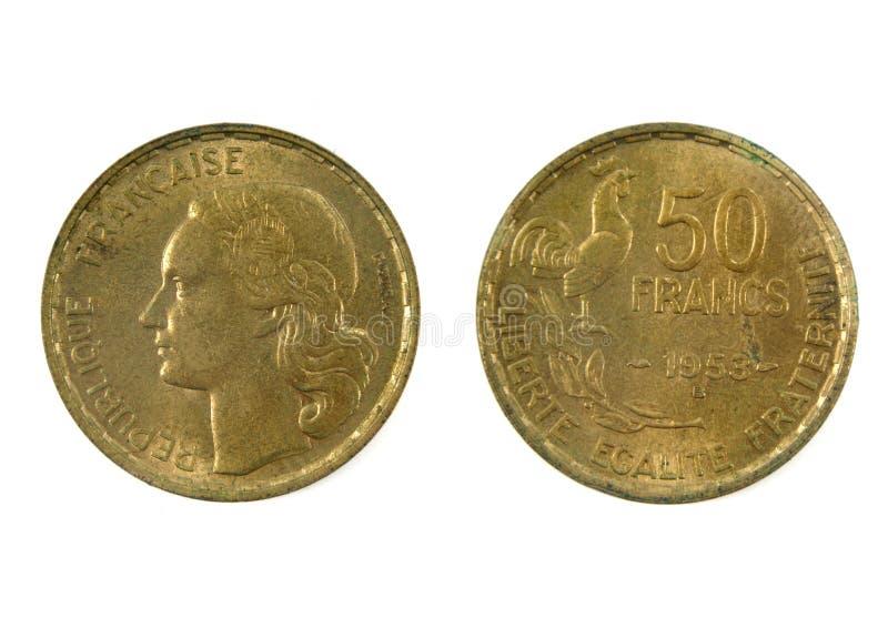 Γαλλικό νόμισμα του 20ου αιώνα 50 το 1953 του φράγκου στοκ φωτογραφίες με δικαίωμα ελεύθερης χρήσης