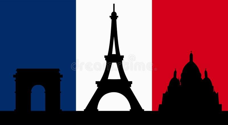 Γαλλικό σχέδιο με τη σημαία του Παρισιού ελεύθερη απεικόνιση δικαιώματος