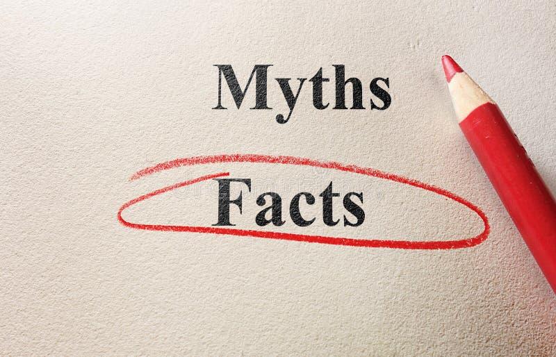 Γεγονότα ή μύθοι στοκ εικόνα