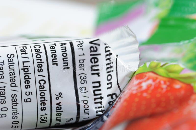 Γεγονότα διατροφής του φραγμού granola στοκ εικόνα με δικαίωμα ελεύθερης χρήσης