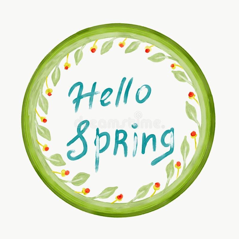 Γειά σου έννοια άνοιξη Πράσινα φύλλα και λουλούδια στη μορφή κύκλων Ύφος Doodle που σύρεται με το χέρι την ψηφιακή ζωγραφική διανυσματική απεικόνιση