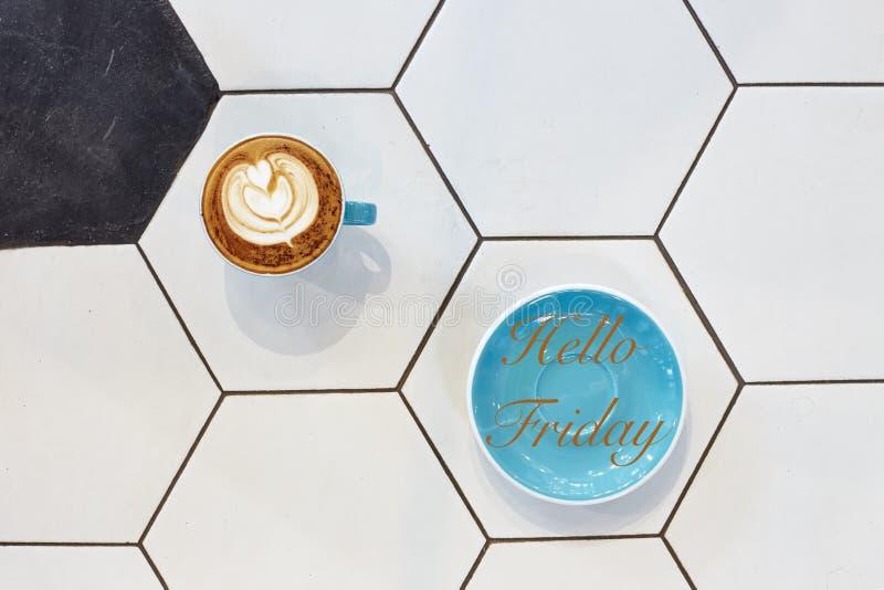 Γειά σου έννοια φλυτζανιών καφέ Παρασκευής στοκ εικόνα
