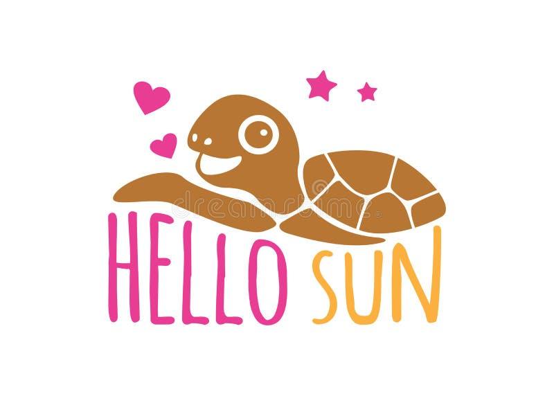 γειά σου ήλιος με το διανυσματικό πρότυπο σχεδίου λογότυπων θερινού θέματος χελωνών διανυσματική απεικόνιση