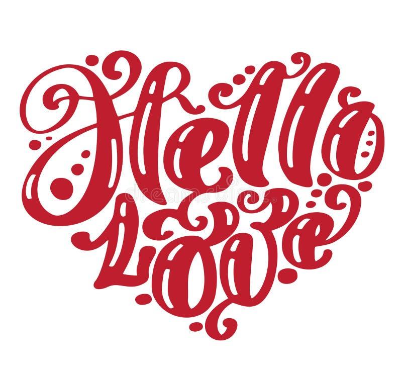 Γειά σου αγάπη Ι καρδιά εσείς Ευχετήρια κάρτα ημέρας βαλεντίνων με το γάμο καλλιγραφίας Συρμένα χέρι εκλεκτής ποιότητας στοιχεία  απεικόνιση αποθεμάτων