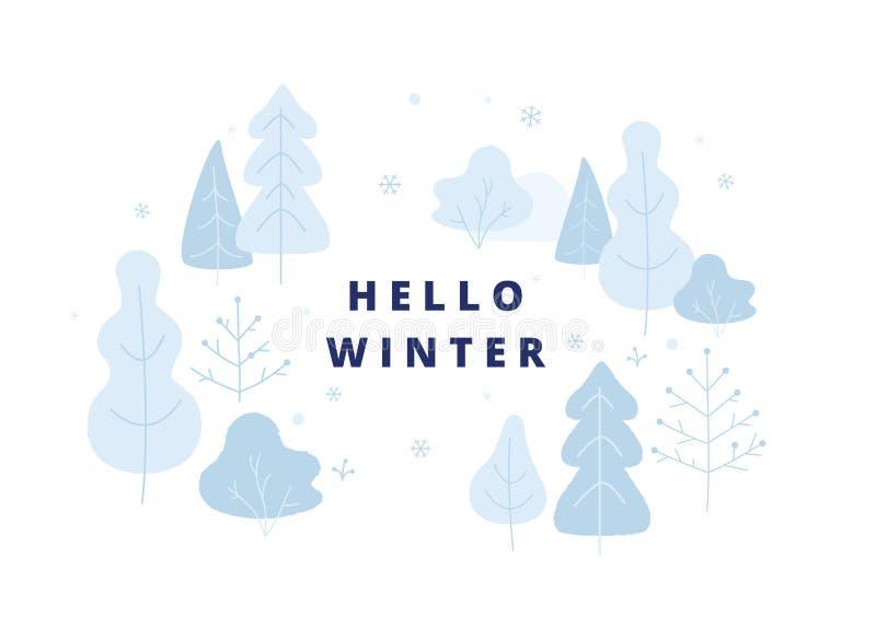 Γειά σου απεικόνιση χειμερινής έννοιας, στοιχεία χειμερινών πάρκων, δέντρα, οι Μπους στο χιονώδη καιρό Έμβλημα, αφίσα στο επίπεδο ελεύθερη απεικόνιση δικαιώματος