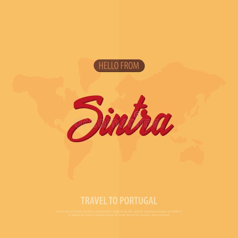 Γειά σου από Sintra Ταξίδι στην Πορτογαλία Τουριστική ευχετήρια κάρτα επίσης corel σύρετε το διάνυσμα απεικόνισης απεικόνιση αποθεμάτων