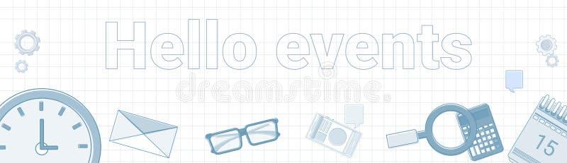Γειά σου γεγονότα Word στην τακτοποιημένη έννοια σχεδίου επιχειρησιακού χρόνου εμβλημάτων υποβάθρου οριζόντια απεικόνιση αποθεμάτων