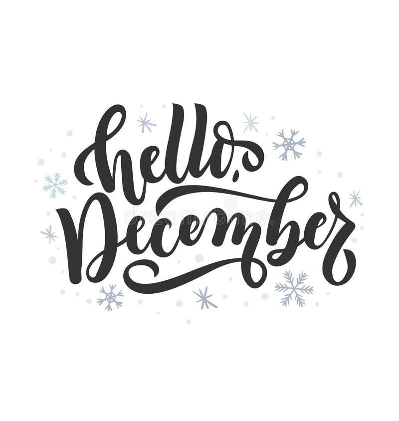 Γειά σου γράφοντας κάρτα Δεκεμβρίου με τα snowlakes Συρμένο χέρι inspira ελεύθερη απεικόνιση δικαιώματος