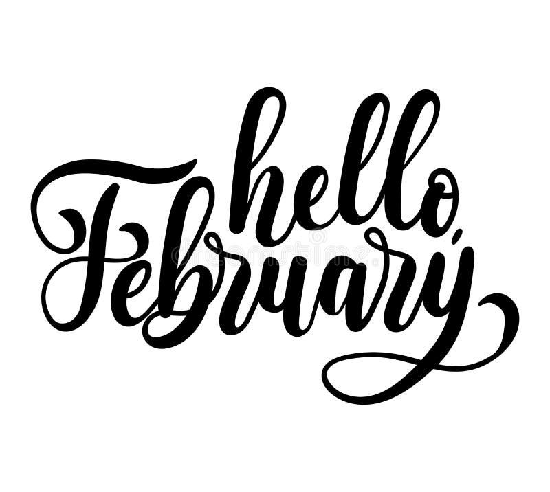 Γειά σου γράφοντας κάρτα Φεβρουαρίου με τα snowlakes Χέρι που σύρεται inspir διανυσματική απεικόνιση
