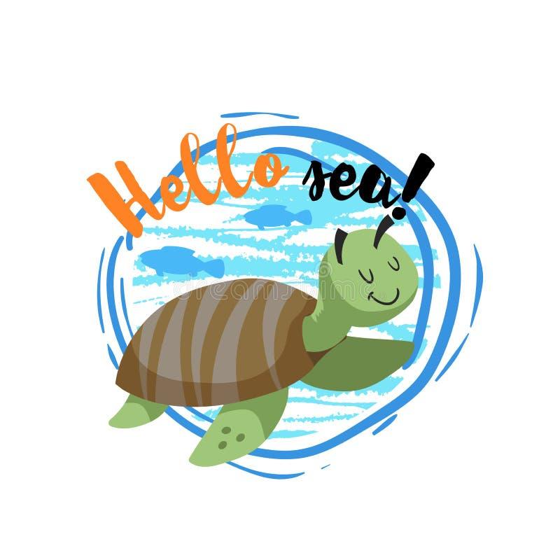 Γειά σου διακριτικό κινούμενων σχεδίων θάλασσας με την καθιερώνουσα τη μόδα εύθυμη χαριτωμένη θαλάσσια χελώνα κινούμενων σχεδίων  απεικόνιση αποθεμάτων