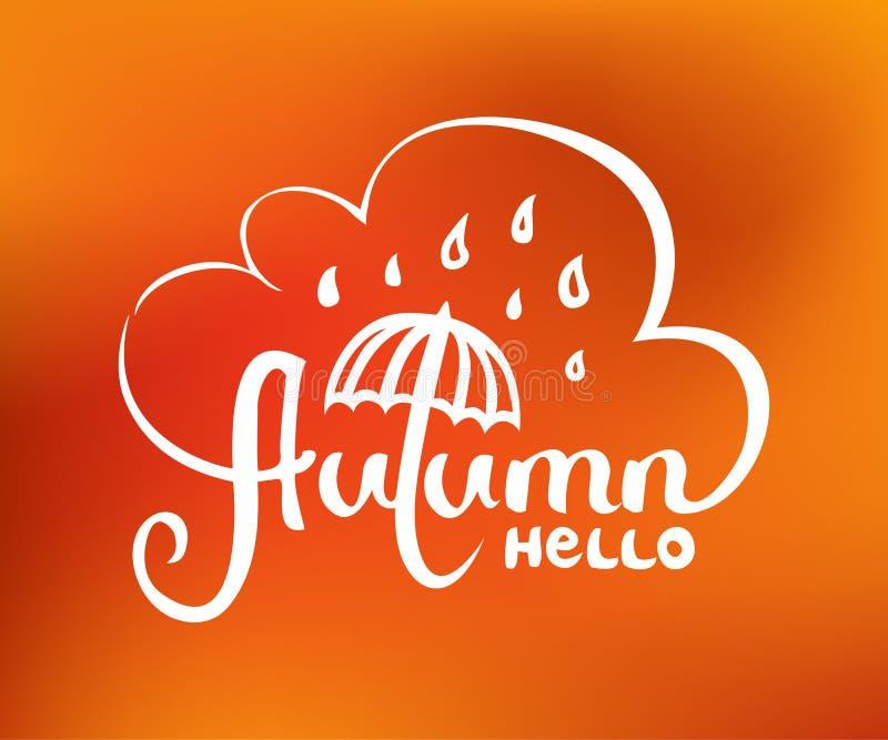 Γειά σου εγγραφή χεριών φθινοπώρου που απομονώνεται στο αφηρημένο θολωμένο πορτοκάλι υπόβαθρο πλέγματος κλίσης ελεύθερη απεικόνιση δικαιώματος