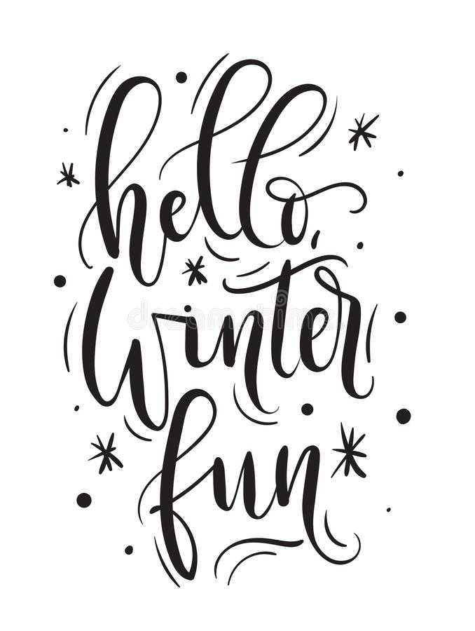 Γειά σου εμπνευσμένη κάρτα χειμερινής διασκέδασης Συρμένο χέρι χειμερινό απόσπασμα με τα doodles απεικόνιση αποθεμάτων