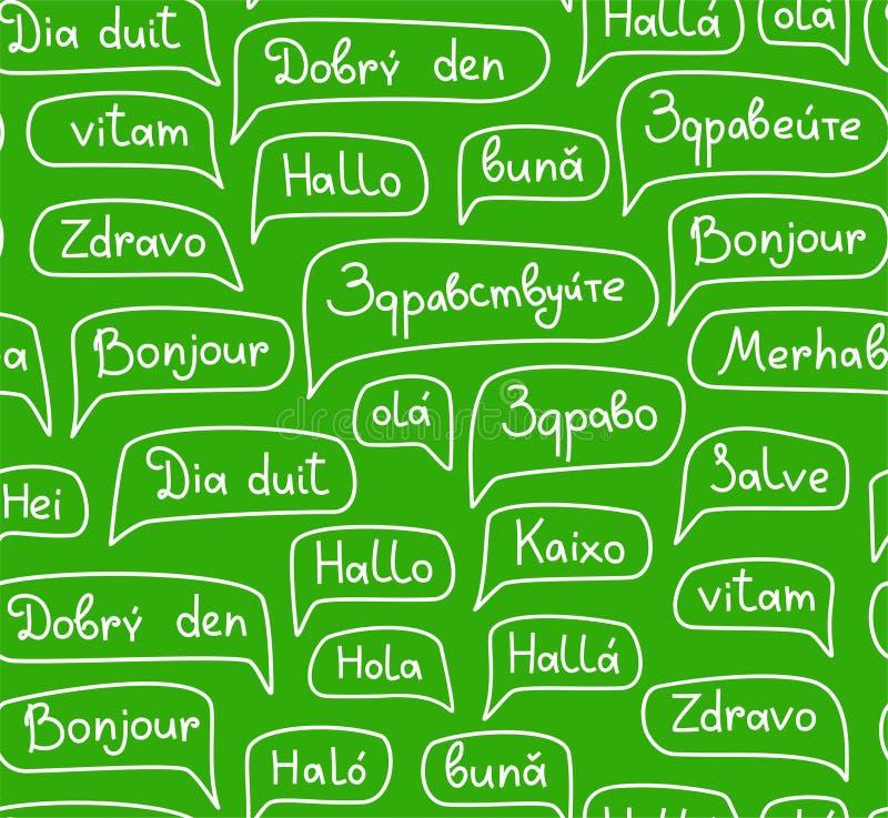 Γειά σου, ευρωπαϊκές γλώσσες, άνευ ραφής σχέδιο, δ περιγράμματος, μονοχρωματικός, πράσινο, διάνυσμα απεικόνιση αποθεμάτων