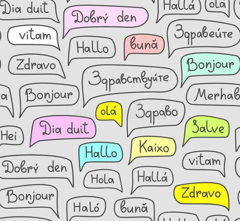 Γειά σου, ευρωπαϊκές γλώσσες, άνευ ραφής σχέδιο, σχέδιο περιγράμματος, γκρίζο, χρώμα, διάνυσμα διανυσματική απεικόνιση