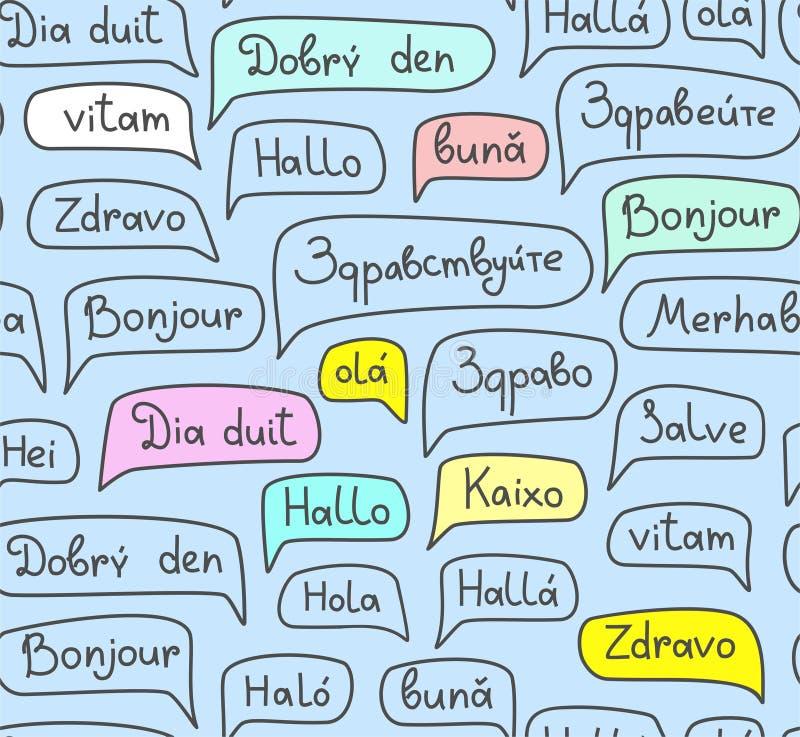Γειά σου, ευρωπαϊκές γλώσσες, άνευ ραφής σχέδιο, σχέδιο περιγράμματος, μπλε, χρώμα, διάνυσμα ελεύθερη απεικόνιση δικαιώματος