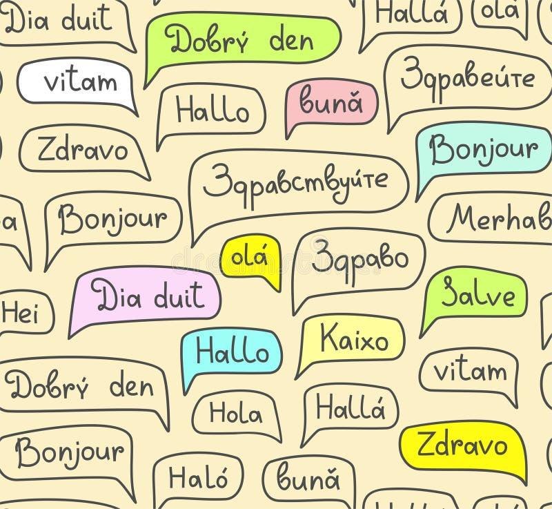 Γειά σου, ευρωπαϊκές γλώσσες, άνευ ραφής σχέδιο, σχέδιο περιγράμματος, φως, χρώμα, διάνυσμα διανυσματική απεικόνιση